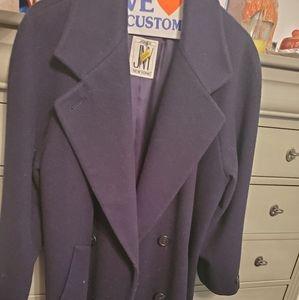 Navy blue Jones NY 100% wool , lined, long coat